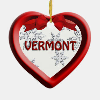 Vermont Snowflake Heart Christmas Ornament