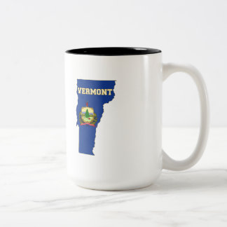 Vermont State Flag and Map Two-Tone Coffee Mug