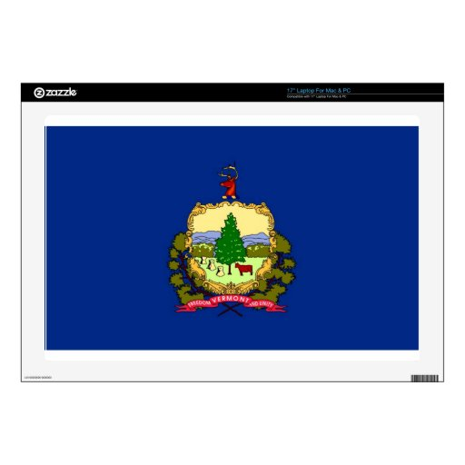 "Vermont State Flag Decals For 17"" Laptops"