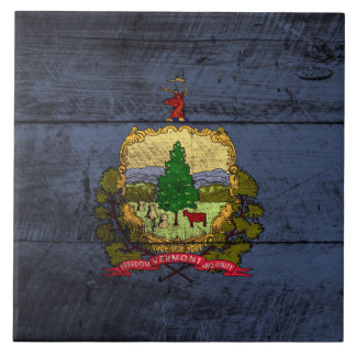 Vermont State Flag on Old Wood Grain Ceramic Tile