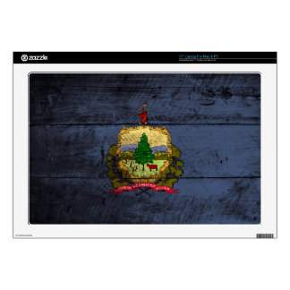 Vermont State Flag on Old Wood Grain Laptop Decal