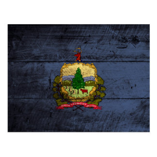 Vermont State Flag on Old Wood Grain Postcard
