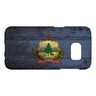 Vermont State Flag on Old Wood Grain Samsung Galaxy S7 Case