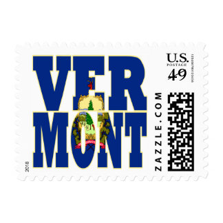 Vermont  state flag text postage