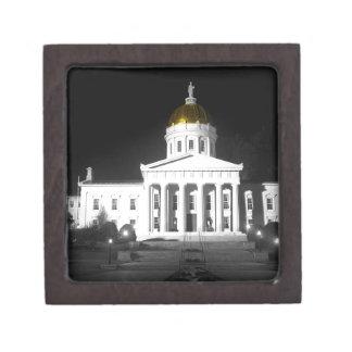 Vermont State House At Night Premium Trinket Box