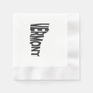 Vermont State Name Word Art Black Paper Napkin