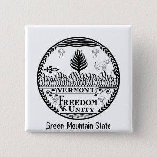 Vermont State Seal and Motto Pinback Button