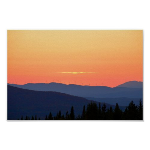 Vermont Sunset With Wind Turbines Poster
