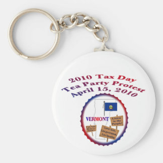 Vermont Tax Day Tea Party Protest Keychain
