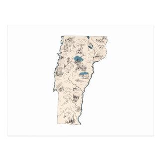 Vermont Vintage Picture Map Postcard