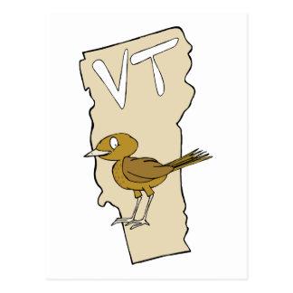 Vermont VT Cartoon Map & State Bird Art Post Card