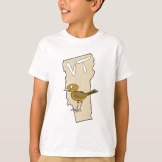 Vermont VT Cartoon Map & State Bird Art T-Shirt