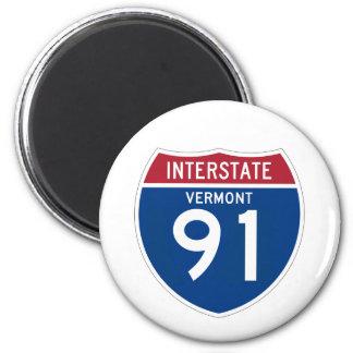 Vermont VT I-91 Interstate Highway Shield - 2 Inch Round Magnet