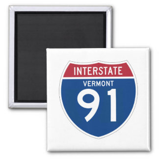 Vermont VT I-91 Interstate Highway Shield - 2 Inch Square Magnet