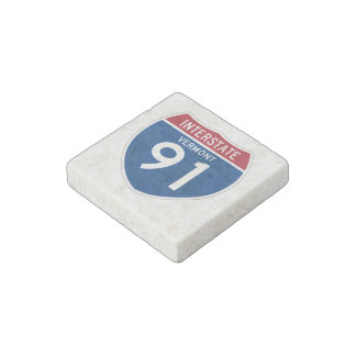 Vermont VT I-91 Interstate Highway Shield - Stone Magnet