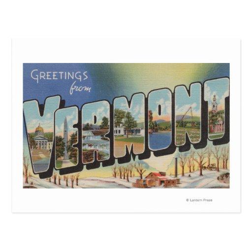 Vermont (Winter Scene) - Large Letter Scenes Post Card