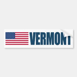 Vermont with US Flag Bumper Sticker