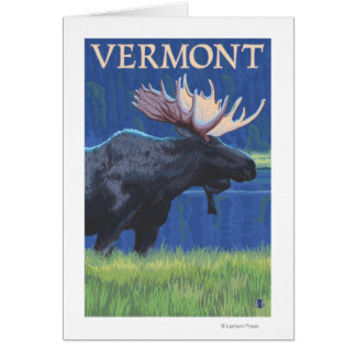 VermontMoose en el claro de luna Tarjetas