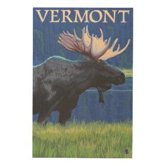 VermontMoose en el claro de luna Cuadro De Madera