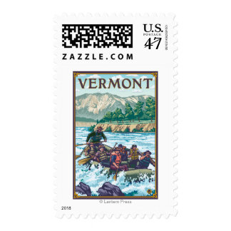 VermontRiver que transporta escena en balsa Estampilla