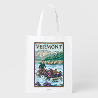 VermontRiver Rafting Scene Reusable Grocery Bag