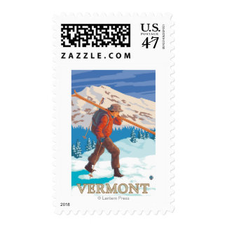 VermontSkier Carrying Skis Postage