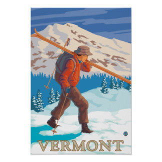 VermontSkier Carrying Skis Poster