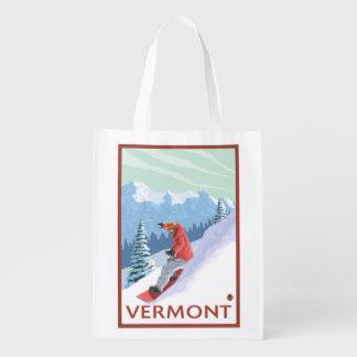VermontSnowboarder Scene Grocery Bag