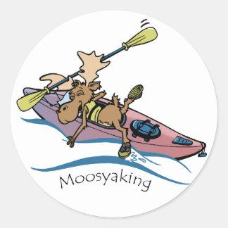 Vermoosin' Da Yak Vermont Moose kayaking Classic Round Sticker