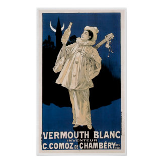 Vermouth Blanc Vintage Drink Ad Art Poster