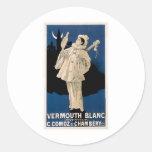 Vermouth Blanc Vintage Drink Ad Art Round Stickers
