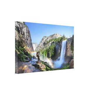 Vernal Fall Hiker and Rainbow - Yosemite Canvas Print