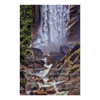 Vernal Falls in Yosemite with Bible Quote Print