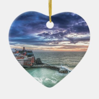 Vernazza at sunset, Italy Ceramic Ornament