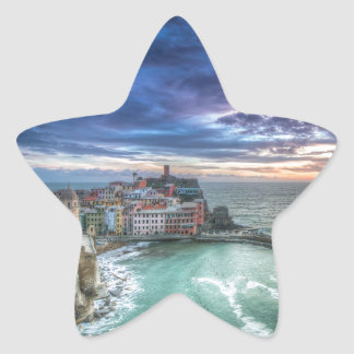 Vernazza at sunset, Italy Star Sticker