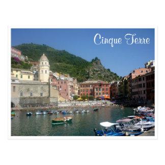 vernazza cinque harbor postcard