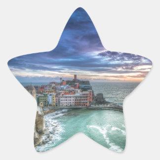 Vernazza en la puesta del sol, Italia Pegatina En Forma De Estrella