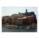 vernazza harbour greeting card