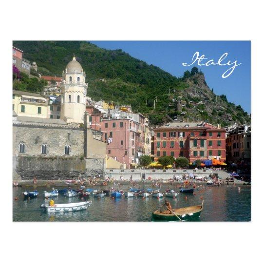 vernazza italy boats postcard