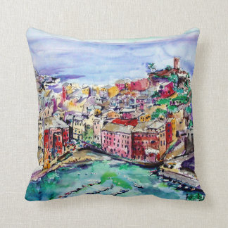 Vernazza Italy Watercolor Art Pillow