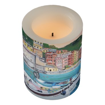 "Beach Themed Vernazza, Wrapped LED Candle, 3"" x 4"" LED Candle"