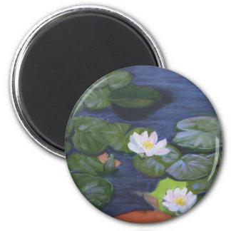 """Verneer's Waterlilies"" 2 Inch Round Magnet"