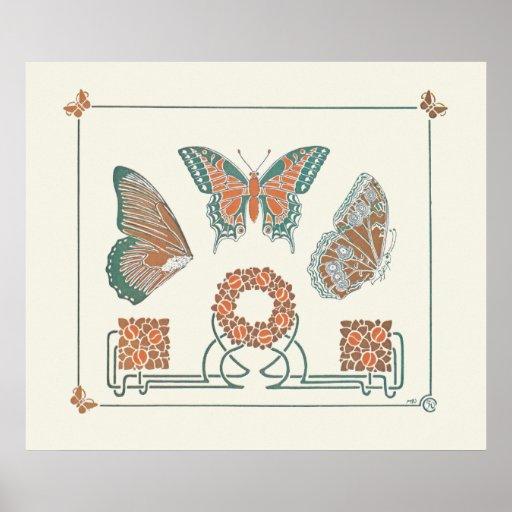 Verneuil  Art Nouveau Butterflies Print Poster
