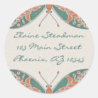 Verneuil  Art Nouveau Butterfly Address Labels