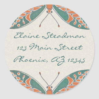 Verneuil  Art Nouveau Butterfly Address Labels Classic Round Sticker