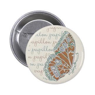 Verneuil  Art Nouveau Butterfly Round Button Pin