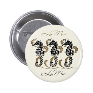 Verneuil Art Nouveau Seahorse Button Pin Round