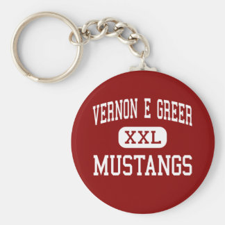 Vernon E Greer - Mustangs - Middle - Galt Basic Round Button Keychain
