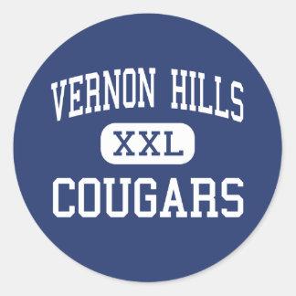 Vernon Hills - pumas - alto - Vernon Hills Etiqueta Redonda