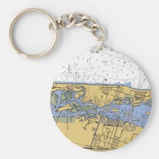 Vero Beach FL Nautical Harbor Chart Keychain